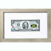 Банкнота США 2 доллара 2013 с печатью USPS, флаг Ямайки, Gem UNC в объемной рамке с паспарту