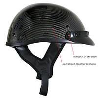 Карбоновый чёрный глянцевый мотошлем для скутера Outlaw T-71, фото 1