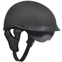 Черный матовый шлем для скутера с двойным визором Outlaw Т-72, фото 1