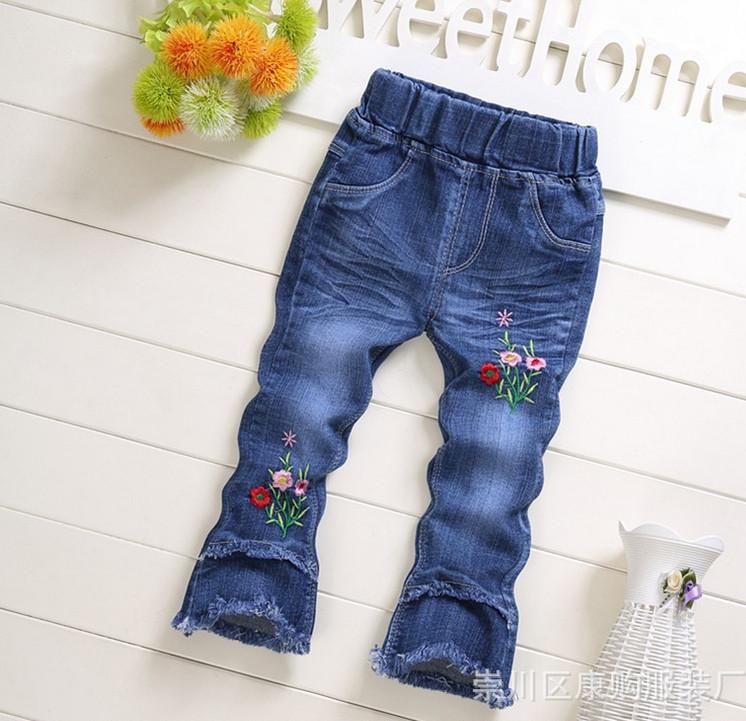 Джинсы для девочек flowers синие