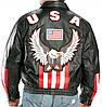 Мужская кожаная куртка бомбер черного цвета с символикой США