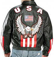 Мужская кожаная куртка бомбер черного цвета с символикой США, фото 1