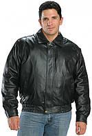 Мужская кожаная куртка Бомбер черного цвета, фото 1