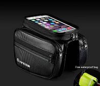 Велосумка нарамная двухсторонняя с карманом для телефона 5,5 дюймов черного цвета