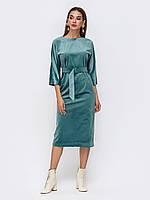 Вечернее платье бирюзовое с бархата 3/4 рукав миди женское 44 46 48