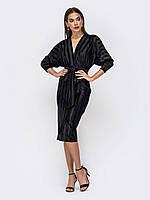 Вечернее платье черное из велюра рукав летучая мышь 44 46 48