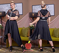 Женское платье спорт шик с капюшоном Батал, фото 1