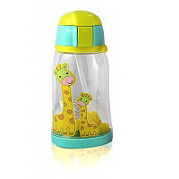Бутылочка поилка для детей с трубочкой Animals желтая 131995