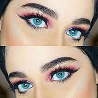 Цветные линзы для темных и светлых глаз. Голубые линзы Аврора. Цветные линзы на год