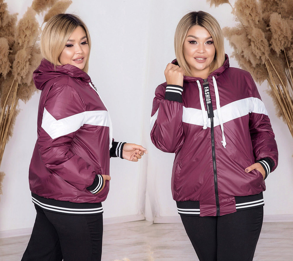 """Женская куртка демисезон на синтепоне в больших размерах 909-1 """"Плащёвка Капюшон Полоса Контраст"""" в расцветках"""