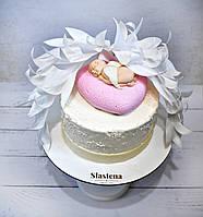 Торт на Крещение для девочки ( кремовый без мастики)