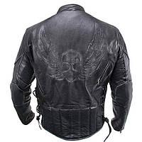 """Мужская кожаная куртка Xelement B-96333 с эмблемой """"Череп"""", фото 1"""