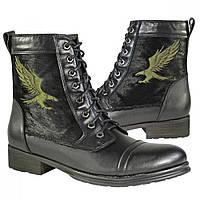 Мужские кожаные ботинки на шнуровке со вставками из конской кожи, фото 1
