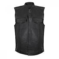 Мужской байкерский кожаный жилет с карманом-кобурой под пистолет, фото 1