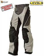 Мужские текстильные мотоштаны  B4403 с защитой Level-4 черно-серые