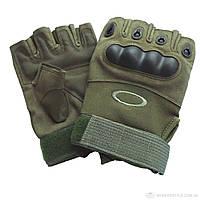 Тактические перчатки без пальцев с защитой SDG-09 цвет олива на застежке-липучке, фото 1
