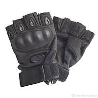 Тактические перчатки без пальцев с защитой SDG-10 черного цвета на застежке-липучке, фото 1