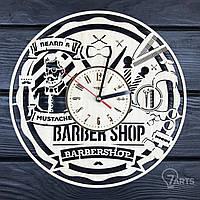 """Дизайнерские настенные часы из дерева """"Мужская парикмахерская"""""""