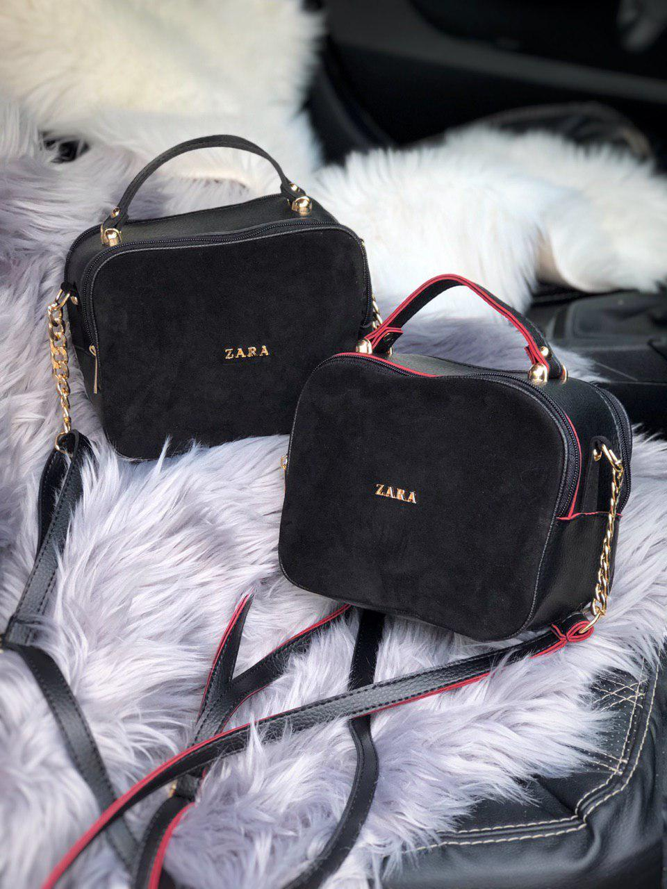 Женская сумка Zara через плечо c натуральной замши