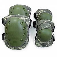 Комплект захисту тактичні наколінники і налокітники PA-7 камуфляж олива-піксель