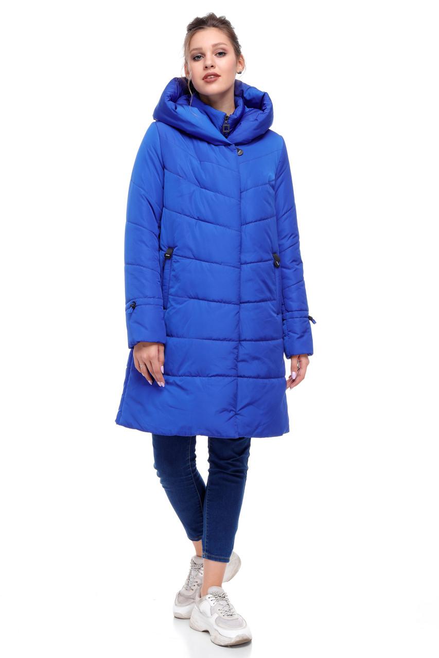 Зимняя куртка пуховик теплая электрик ультрамарин с подстежкой 42-54 большие размеры