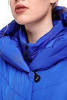 Зимняя куртка пуховик теплая электрик ультрамарин с подстежкой 42-54 большие размеры, фото 3