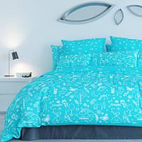 Постельный комплект ТЕП™ 300 Unikorn Blue 180х215 Бязь, фото 1