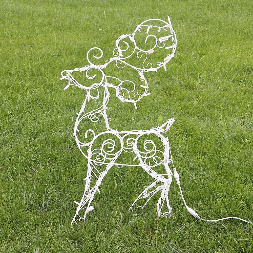 Олень новогодний (полуобъемный) 90 см, гирлянда LED 100 лампочек 2211502529014
