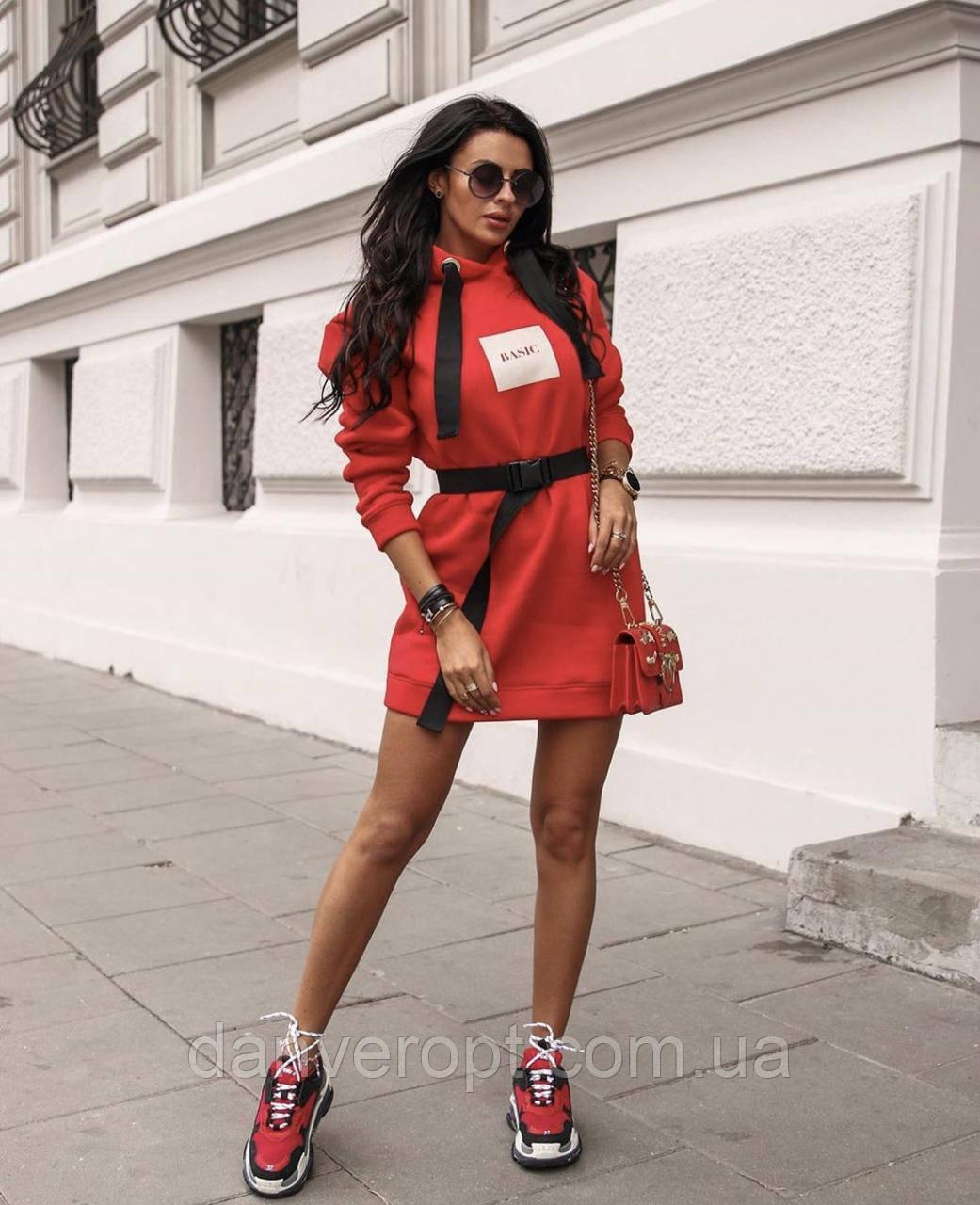 Платье женское модное стильное с поясом размер универсальный 42-46 купить оптом со склада 7км Одесса