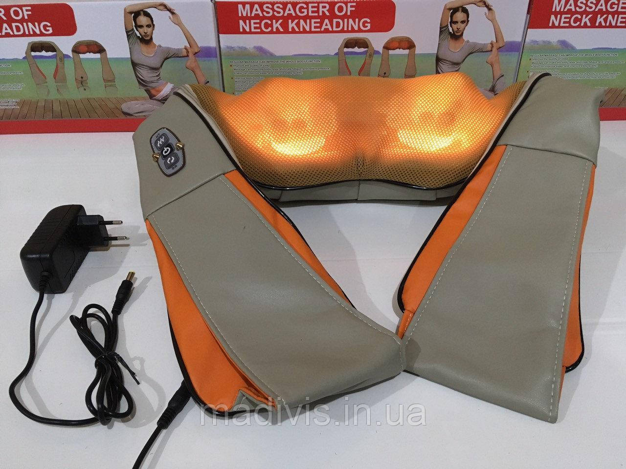 Роликовый массажёр Massager of neck kneading, для шеи и плеч, 12V, 24W