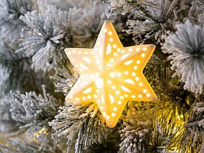 Led каганець зірка біла кераміка һ12см    1010125
