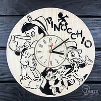 """Бесшумные детские настенные часы из дерева """"Пиноккио"""""""