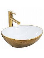 Чаша керамическая накладная Rea Sofia Gold\White 41 cм, фото 1