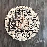 """Деревянные часы на стену """"Шахматы"""""""