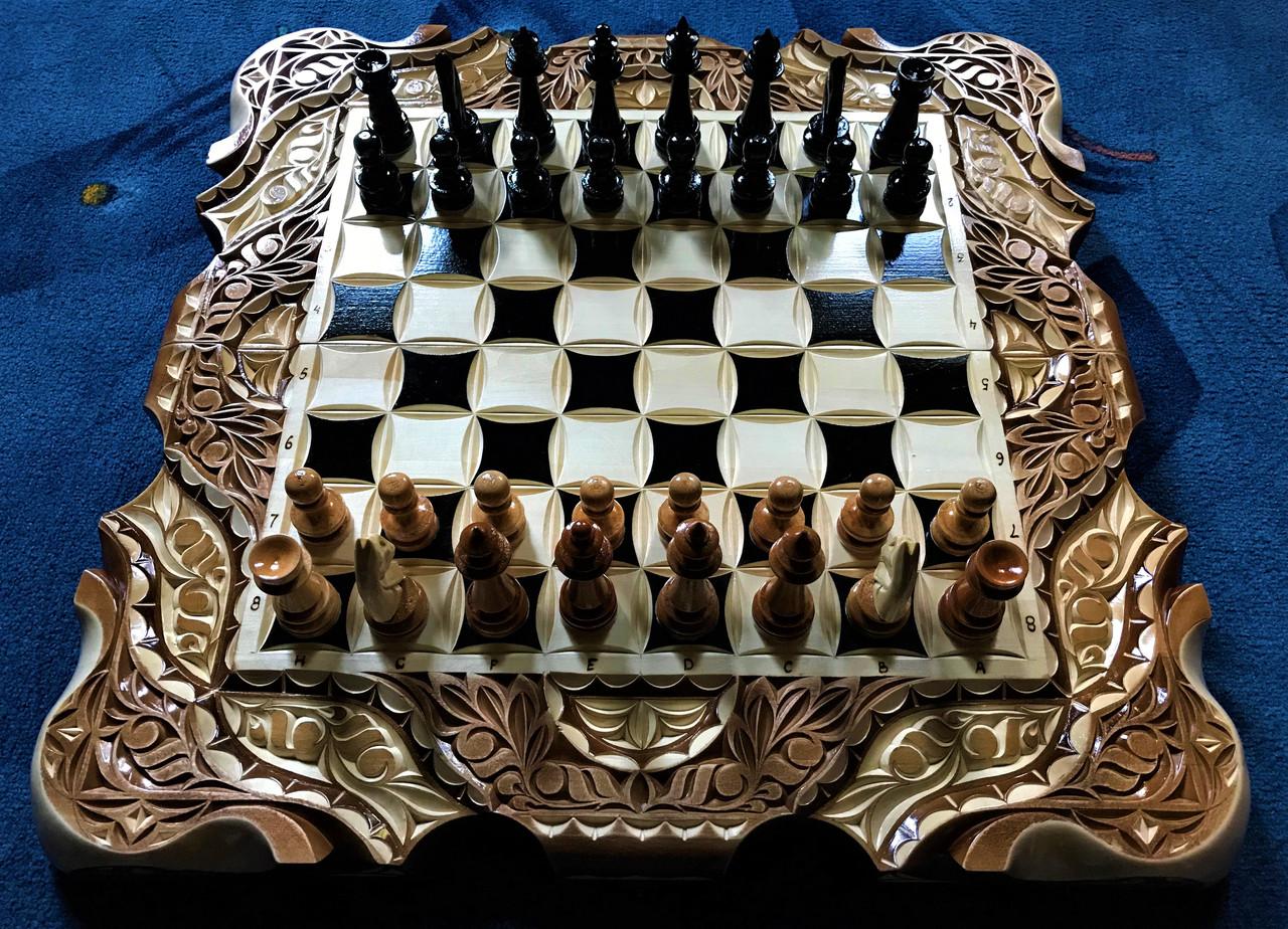 Шахи-нарди-шашки 3 в 1, різьба по дереву