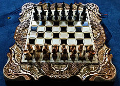Шахматы-нарды-шашки 3 в 1, резьба по дереву