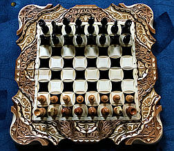 Шахи-нарди-шашки 3 в 1, різьба по дереву, фото 3