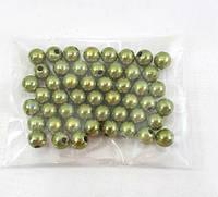 Пластиковые бусины d 7-8мм ,цвет хаки(1 упаковка 50 бусин), фото 1