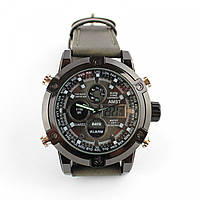Кварцевые армейские наручные часы Amst watch AM3022 серые 131811