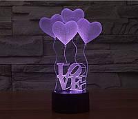 3D светильник-ночник LOVE (7 цветов)