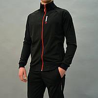 Демисезонный мужской спортивный костюм Reebok (Рибок) / Трикотаж-дайвинг на флисе / Размеры: 48/50/52 - чёрный