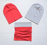 Комплект: 1 шапочка бини на выбор, со снудом. Серый меланж и красный. ОГ 46-48, 48-50, 50-52, 52-54 см