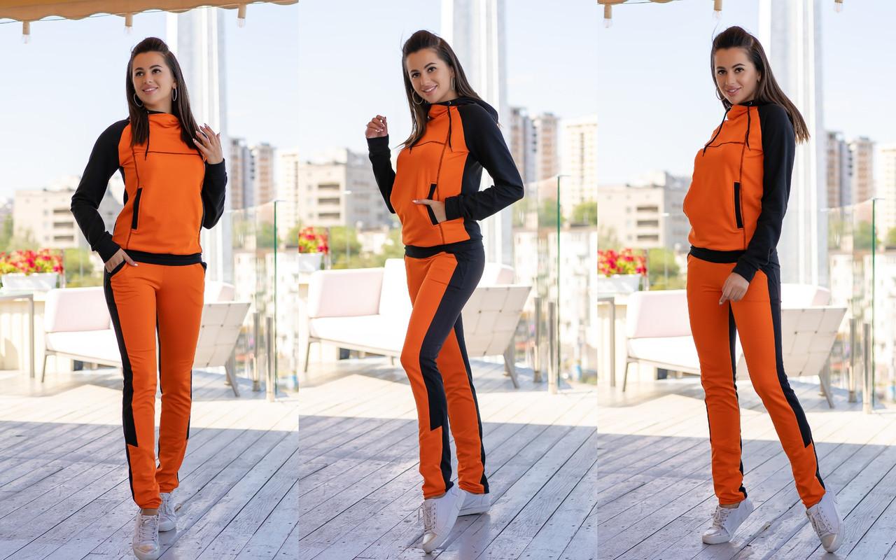 Стильный женский спортивный костюм: кофта без змейки с глубоким капюшоном