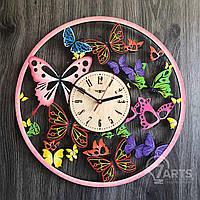 Цветные настенные часы с универсальным дизайном бабочек