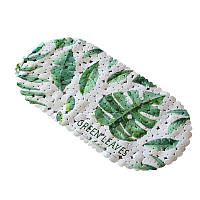 Коврик в ванную комнату антискользящий резиновый 69х35 см Bathlux Green Leaves 40256