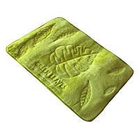 Коврик в ванную комнату антискользящий хлопковый 45х75 см Bathlux Green Leaves 10174