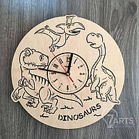 """Детские дизайнерские часы из дерева """"Динозавры"""""""