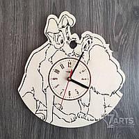 """Детские деревянные часы на стену """"Леди и Бродяга"""""""