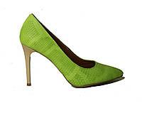 Туфли кожаные классика питон зеленое яблоко