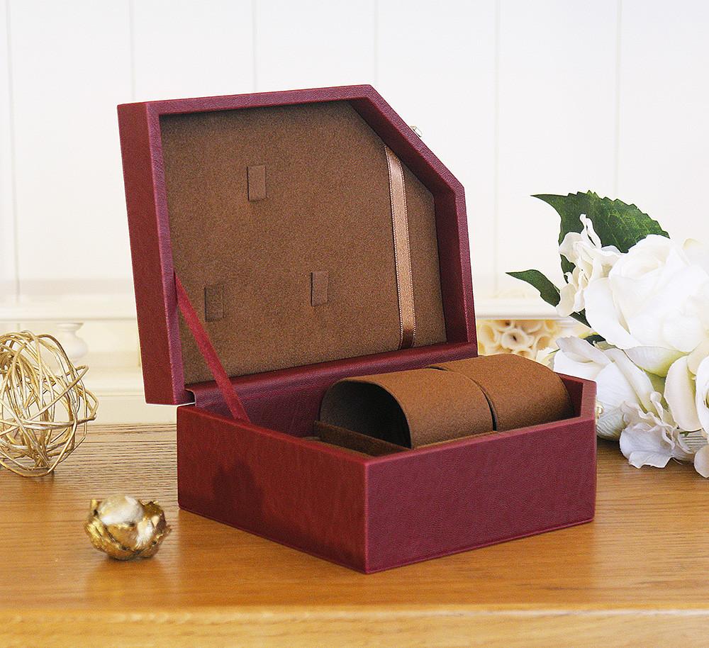 Шкатулка для ювелирных изделий и двух часов 20,5*15,4*4,8 603443 бордовая